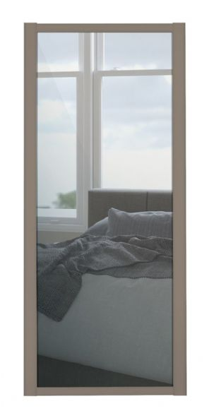 Shaker Sliding Wardrobe Door- STONE GREY FRAME- MIRROR SINGLE PANEL